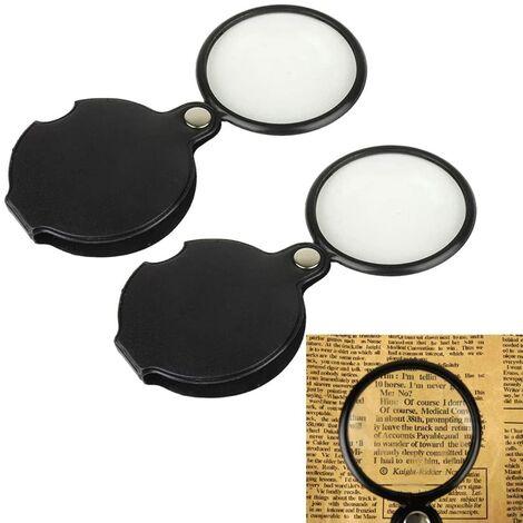 LITZEE Mini pliable Cuir Loupe Magnifier Portable 5X Mini hd optique lentille en verre loupe pour vieil homme poche lecture outils avec une housse de protection Loupe en deux pièces, noir 50mm