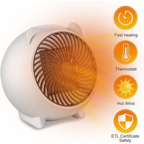 LITZEE Mini radiateur soufflant, ventilateur chaud, radiateur soufflant à économie d'énergie, radiateur soufflant, radiateur électrique portable, radiateur électrique pour le bureau de la salle de bain du salon