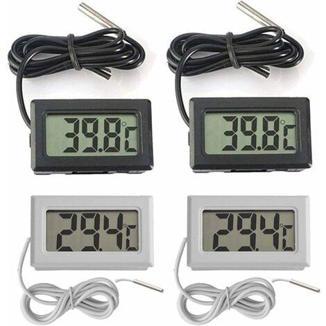 LITZEE Mini termómetro digital LCD de temperatura -50 ~ 70 ter Probador de sensor de temperatura para refrigeradores y congeladores de acuario (2X negro 2X blanco)