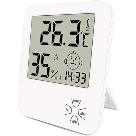LITZEE Mini Thermomètre Hygromètre Intérieur Numérique à Haute Précision thermomètre Maison avec Support Pliant Et Réveil pour Indicateur du Niveau de Confort du Maison Bureau Cuisine Jardin etc Blanc