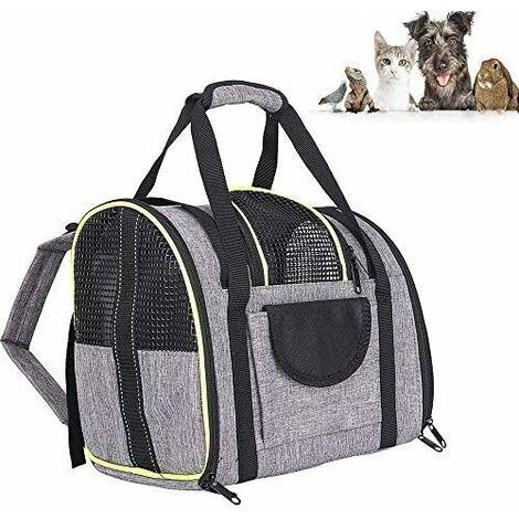 LITZEE - Mochila para perros y gatos, 90% elástica, transpirable para perros pequeños, mochila para gatos con colchón de felpa extraíble, para viajes en tren / coche / restaurante / avión
