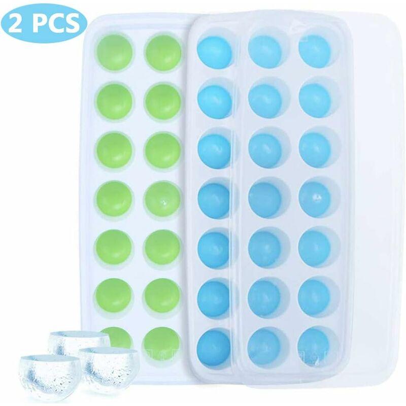 LITZEE Moldes para cubitos de hielo, 2 piezas, bandeja de silicona para cubitos de hielo, forma semicircular, molde de silicona para cubitos de hielo