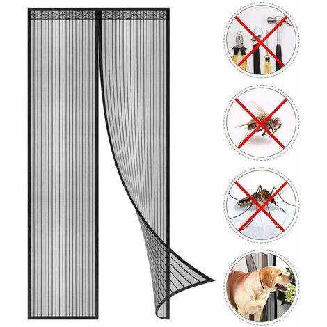 LITZEE Moustiquaire à Fermeture Aimantée - Fermeture Automatique Maille Ultra Fine, Installation sans Outil Facile (Noir (Nouveau Style) - 80 x 210 cm