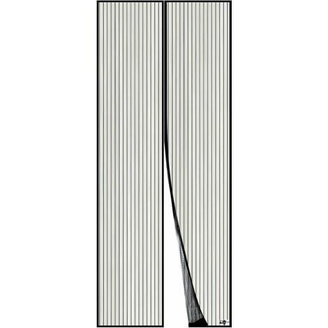 LITZEE Moustiquaire Magnétique Pour Porte, Maille Ultra Fine, Aimants Puissants, Kit d'Installation Complet, Bande Adhésive et Auto-Agrippante Incluse - 110x210cm, Noir