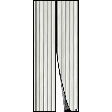 LITZEE Moustiquaire Magnétique Pour Porte, Maille Ultra Fine, Aimants Puissants, Kit d'Installation Complet, Bande Adhésive et Auto-Agrippante Incluse - 90x210cm, Noir