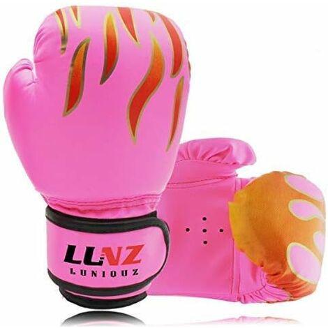LITZEE niños 3-14 años guantes de boxeo guantes de boxeo de cuero 4OZ 6OZ para MMA Muay Thai kickboxing saco de boxeo rosa