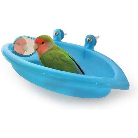 LITZEE Oiseaux Baignoire pour Animaux de Bain Fournitures Douche Portable Petits Animaux en Plastique Bassin Parrot,Baignoire Bird Baignoire Bird Parrot Cabine de Douche Accessoires (Bleu)