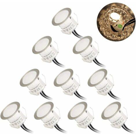 LITZEE - Paquete de 10 focos LED empotrables para exteriores, a prueba de agua IP67 φ32mm 3000K blanco cálido DC12v Empotrable decorativo, adecuado para escaleras, patios, piscinas y paisajes Lámpara de seguridad de caminos para iluminación [Clase energét