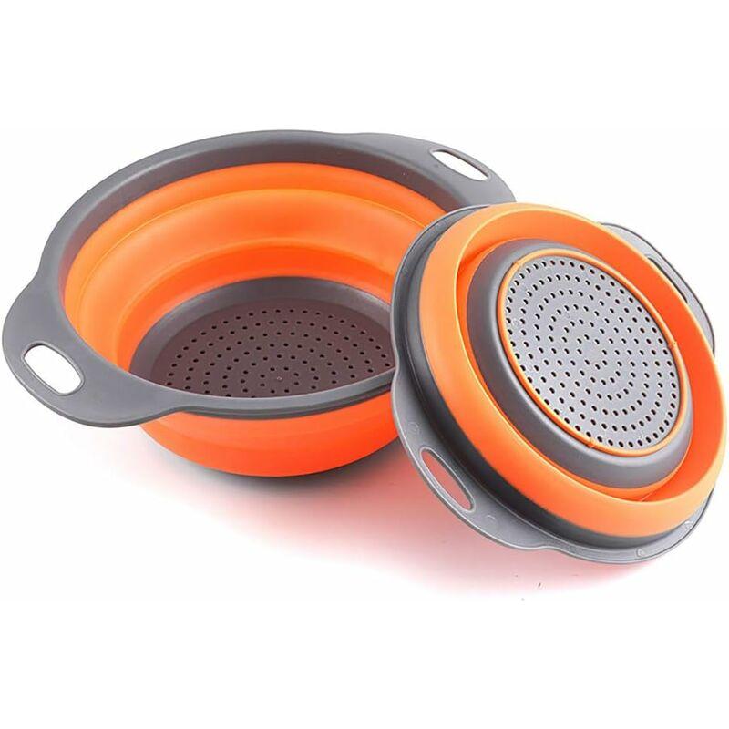 LITZEE Paquete de 2 coladores de cocina plegables, no tóxicos y fáciles de limpiar, 2 tamaños con naranja