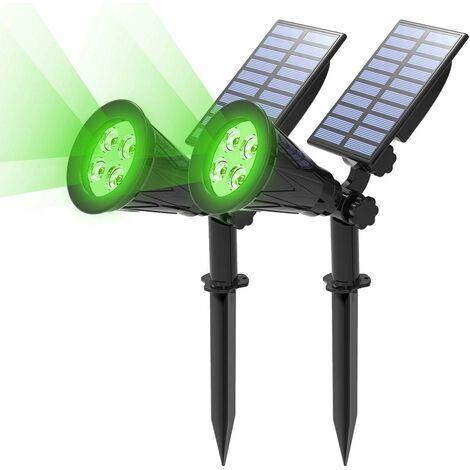 LITZEE [Paquete de 2] Proyector solar LED, 2 en 1 4 Lámpara solar LED, Lámpara de jardín al aire libre IP65 a prueba de agua, Luz de iluminación de seguridad de paisaje para árbol de Navidad, valla, patio, fiesta.