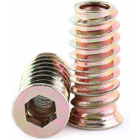 LITZEE paquete de 20 tuercas hexagonales M6 / M8 / M10 con aleación de zinc y tuercas de inserción de aleación de zinc (M6 * 25 mm)