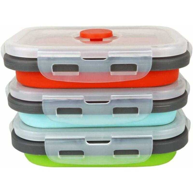 LITZEE Paquete de 3 cajas plegables de silicona para almacenamiento de alimentos para almacenamiento de alimentos, congelación y recalentamiento,