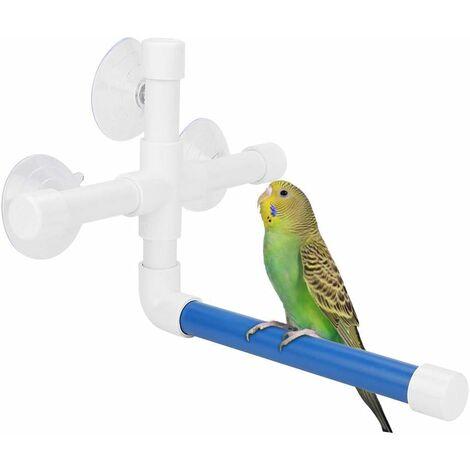 LITZEE Parrot Perch, manguera de plástico para percha de ducha de loro de juguete con ventosa para sujetar lubinas para guacamayos cacatúas grises africanos periquito periquito