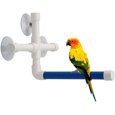 LITZEE Perchoir à oiseaux portable avec ventouse pour perroquet - Support de baignoire pour fenêtre - À suspendre au mur
