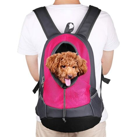 """main image of """"LITZEE Pet Small Dog Cat Puppy Backpack Carrier (8kgs Max) On-the-Go Travel Pet Front Back Breathable Bag Soft Mesh Pup Pack 42 * 38 * 20cm - Rose Red"""""""
