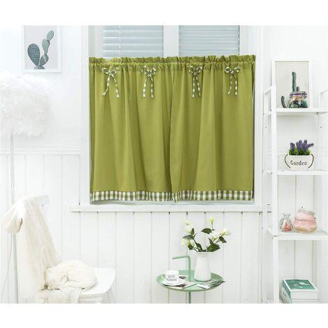 LITZEE Petit rideau de fenêtre court style campagnard vintage opaque disque rideaux court rideau rideau court rideau cuisine moderne à carreaux lot de 2 salon (vert 74 * 90 cm)