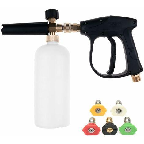 LITZEE Pistola limpiadora de alta presión con boquilla de agua de 5 puntas y kit de botella de espuma de nieve de 1L para parachoques de automóviles Limpieza de ventanas M22 Conexión roscada macho métrica