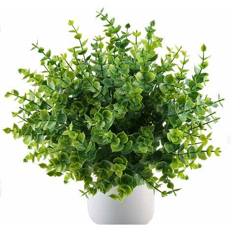 LITZEE Plantas artificiales Arbustos de plástico Plantas de plástico Plantas de simulación Verde 4 piezas