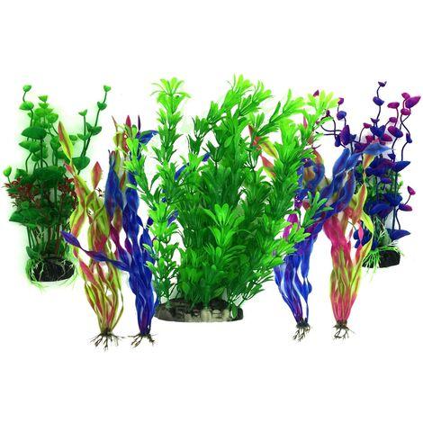 LITZEE Plante Aquarium Artificiel, 7 Pièces Gros Taille Aquarium Decoration Cachette Plastique en Plastique Décoration, Plastique pour Décoration d'aquarium