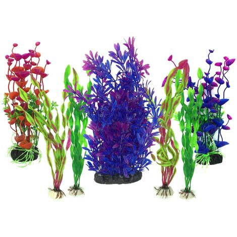 LITZEE Plante Aquarium Artificiel, 7 Pièces Gros Taille Aquarium Decoration Cachette Plastique en Plastique Décoration, Plastique pour Décoration d'aquarium, Violet