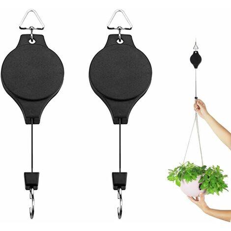 LITZEE Polea de suspensión, 2 piezas de polea retráctil para colgar en la cesta, flor para exteriores