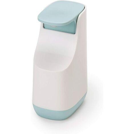LITZEE Pompe à Savon Liquide Compacte, Plastique, Blanc-Bleu Ciel, 5,7 x 8,6 x 14,3 cm