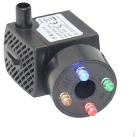 """main image of """"LITZEE Pompe d'aquarium avec 4 lumières LED multicolores Mini pompe à eau 300 l/h résiste au brûleur sec (48 heures), pompe pour aquarium, bassin, fontaine, jardin, pas de bruit, câble 1,5 m"""""""