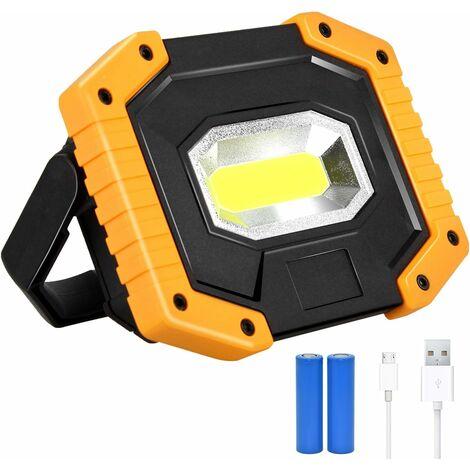 LITZEE Projecteur LED Rechargeable 30W 2000LM Projecteur Chantier Lumière de Travail avec 2X 18650 Batterie 3 Modes Lanterne Portable Projecteur LED USB pour Camping, Chantier, Garage, Atelier(1pack)