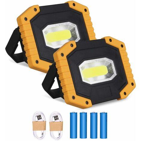 LITZEE Projecteur LED Rechargeable 30W 2000LM Projecteur Chantier Lumière de Travail avec 4X 18650 Batterie 3 Modes Lanterne Portable Projecteur LED USB pour Camping, Chantier, Garage, Atelier(2 pack)