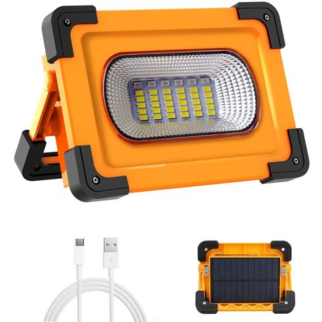 LITZEE Projecteur LED Rechargeable Projecteur Chantier 60W 3000 Lumens Lumière de Travail avec Batterie 9000mAh & Pannea Solaire 4 Modes Lanterne Portable Projecteur Extérieur pour Camping, Bricolage