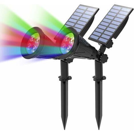 LITZEE Proyector solar LED, 2 en 1 4 lámpara solar LED, lámpara de jardín al aire libre IP65 impermeable, luz de seguridad para paisaje para árbol de Navidad, decoración de patio, fiesta (colorido)