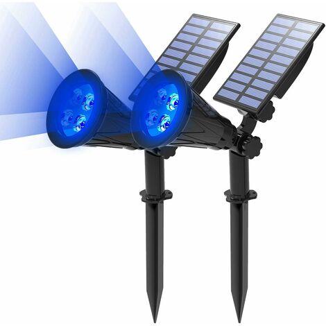 LITZEE Proyector solar LED, lámpara solar 2 en 1 4 LED, lámpara de jardín al aire libre IP65 impermeable, luz de iluminación de seguridad de paisaje para árbol de Navidad, decoración de patio, fiesta (azul)