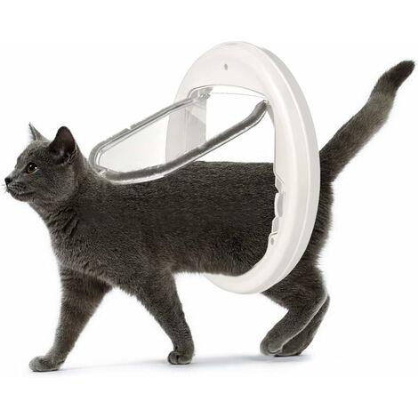 LITZEE Puerta para gatos con cierre de 4 vías mate, puerta para gatos para gatos y pequeños, fácil de instalar y usar, adecuada para vidrio, madera, ladrillo, puertas y ventanas de metal (blanco)