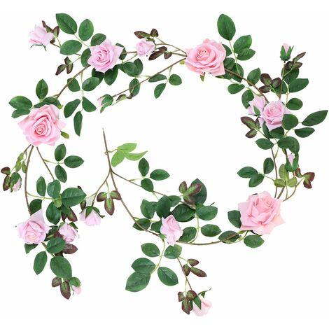 LITZEE Rose Guirnalda de franela artificial Rosas 19 botones Rose Decoración romántica Fiesta de bodas Sala de estar Decoración de la ventana Aspecto real en rosa blanca Rosa roja