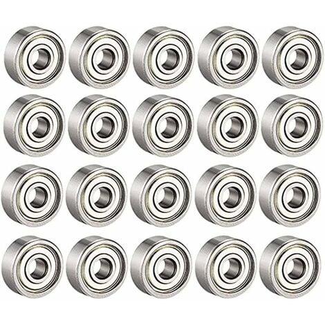 LITZEE Roulements à billes 608 ZZ, roulements à billes miniatures à gorge profonde pour 608zz métal (8 mm x 22 mm x 7 mm)