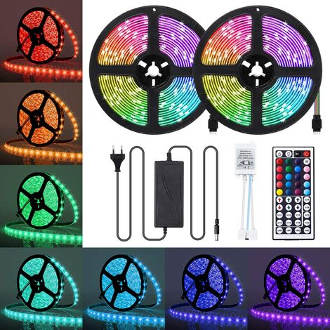 LITZEE Ruban LED 10M Étanche Bande LED RGB 5050 300 LEDs IP65 Ruban Led Multicolore avec Télécommande à Infrarouge Bande Lumineuse pour Décoration d'Eclairage Intérieur et Extérieur [Classe énergétique A+]