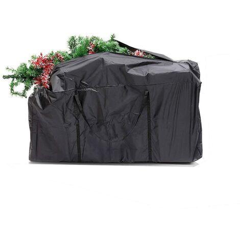 LITZEE Sac pour sapin de Noël, sac lourd pour ranger les grands arbres de Noël et les décorations artificielles. Étanche, anti-poussière, anti-insectes noir 116x47x51cm