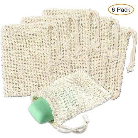 LITZEE Sac Savon Sisal - Lot de 6 Sachet de Savon Bouts Exfoliant Naturel éponge Filet Mousse avec Cordon pour Bain, Douche, Massage, Circulation Sanguine