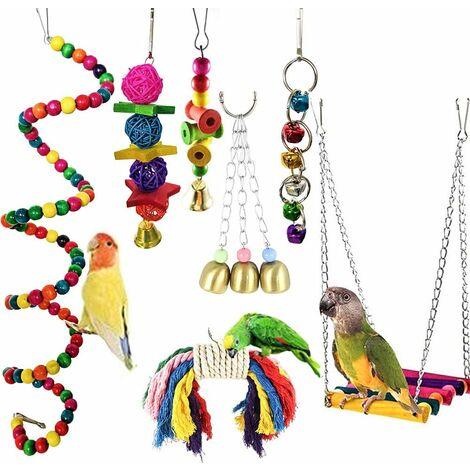 LITZEE set con 7 juguetes de loros para jaulas de pájaros, varillas de madera para cotorras, cacas, guacamayos, perchas y pájaros encantadores