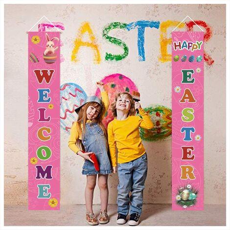 LITZEE Signe de Porche de Pâques Décoration Bienvenue Pâques Bannière Suspendue de Jardin d'oeufs de Lapin de Pâques Signes Extérieures d'intérieur Porte Murale la fête de Pâques Décoration Rose