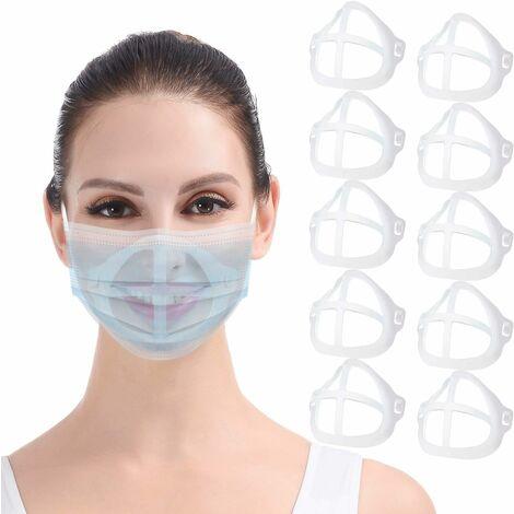 LITZEE Soporte para mascarilla 3D 10PCS Marco de soporte de máscara interior transparente Mantén el paño fuera de la boca para crear más espacio para una protección respiratoria cómoda