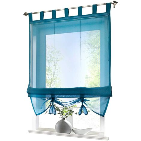 LITZEE Store romain à boucles rideaux Cuisine Stores romains Rideaux transparents à boucle aveugle Voile moderne bleu LxH 80x155cm 1 pièce