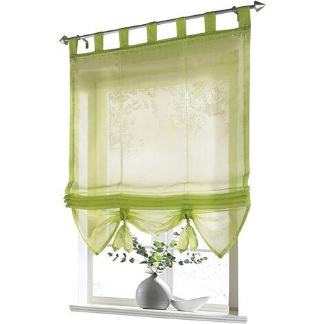 LITZEE Store romain à boucles rideaux Cuisine Stores romains Rideaux transparents à boucle aveugle Voile moderne vert LxH 80x155cm 1 pièce