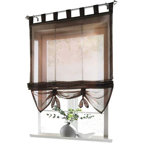 LITZEE Store romain avec boucles rideaux Cuisine stores romains Rideaux transparents à boucle aveugle Voile moderne café LxH 60x155cm 1 pièce