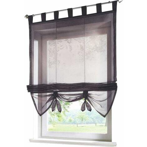 LITZEE Store romain avec boucles rideaux Cuisine stores romains Rideaux transparents à boucle aveugle Voile moderne gris LxH 60x155cm 1 pièce