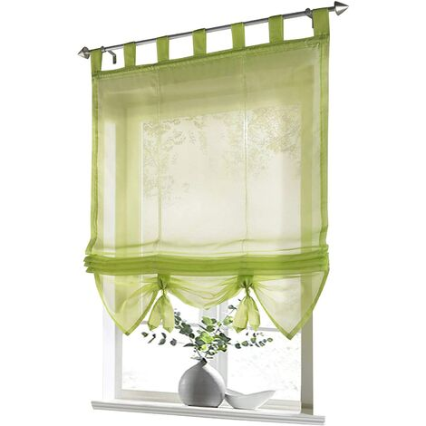 LITZEE Store romain avec boucles rideaux Cuisine stores romains Rideaux transparents à boucle aveugle Voile moderne vert LxH 60x155cm 1 pièce