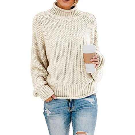 LITZEE suéter para mujer elegante de invierno de cuello alto suéter de punto grueso suéter de punto suéter informal de manga larga suelta-L blanco