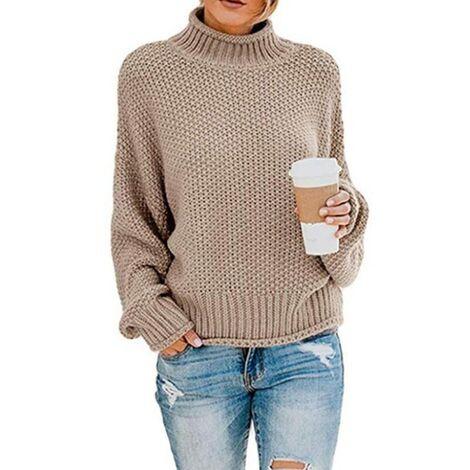 LITZEE, suéter para mujer, elegante, de invierno, de cuello alto, suéter de punto, suéter grueso, suéter de punto, suéter informal de manga larga suelta-L, caqui