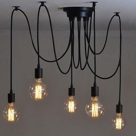LITZEE Suspendu Edison 2 Mètres Réglable Plafonnier Araignée Lumière Métal Fil Cage Pendentif Éclairage Lustre Moderne Industriel Lumière Lumineuse (Ampoule NON INCLUS) (5 Bras)