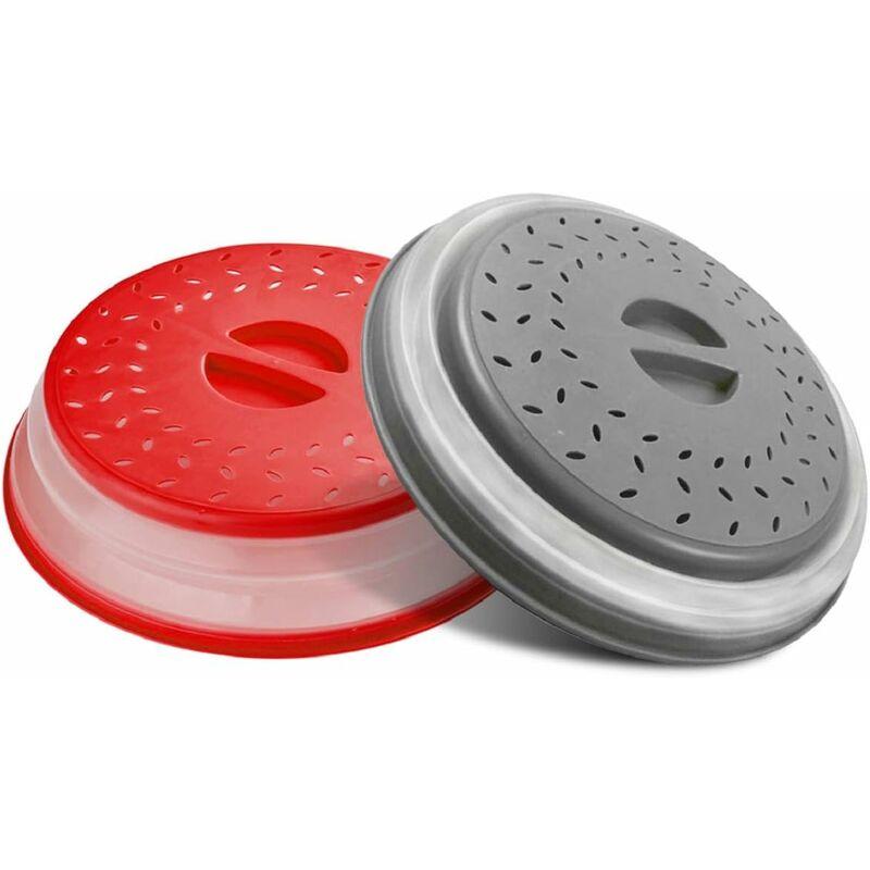 LITZEE - Tapa para microondas a prueba de derrames, ventilada, plegable, para microondas, con asa de fácil agarre, apta para lavavajillas, silicona y